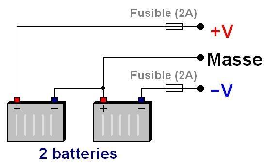 Alimentation d'ampli par batterie