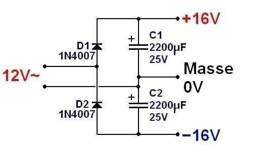 alimentation symetrique 15v a partir d alimentation simple 0
