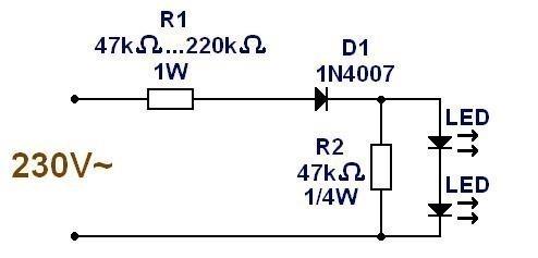 alimentation ultra simple pour led 230v 2