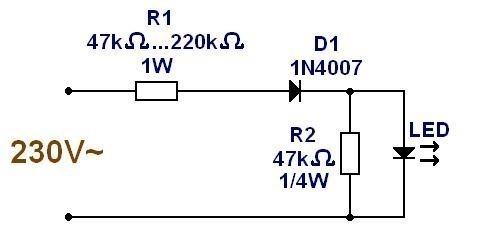 Alimentation ultra simple pour LED 230V