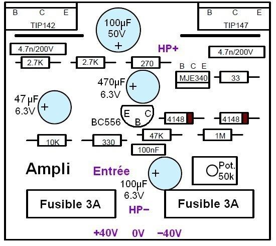 ampli 100w ultra simple typon et schema 1