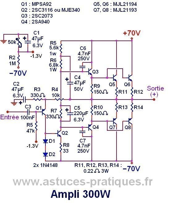 ampli 300w ultra simple schema et typon 2