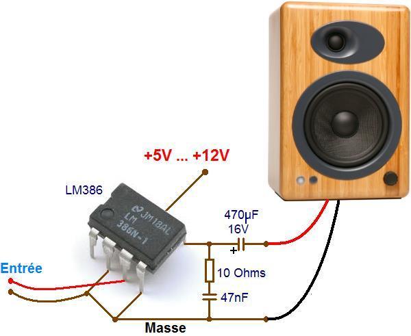 Ampli à LM386 : schéma