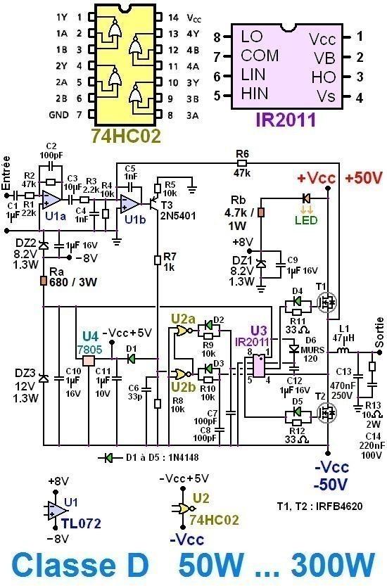 Ampli classe D 50W à 300W : schéma