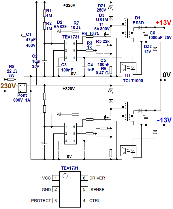 ampli lm1875 a alimentation a decoupage 1