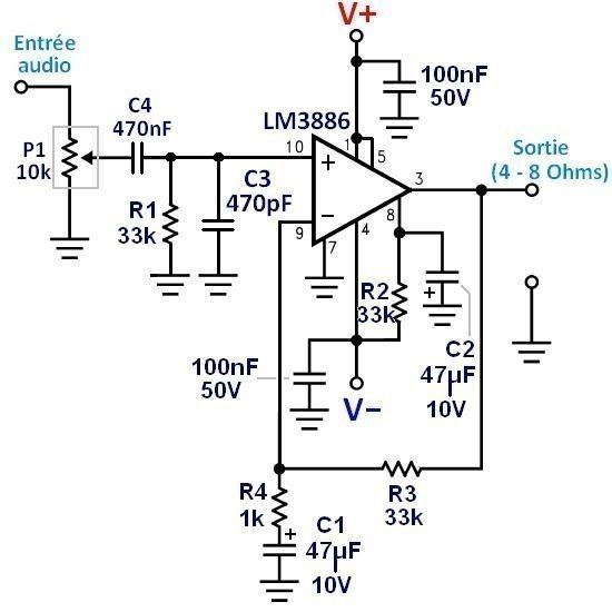 Ampli LM3886 : schéma ultra simple