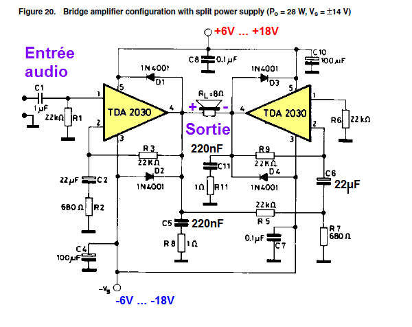Ampli TDA2030 bridge : schéma