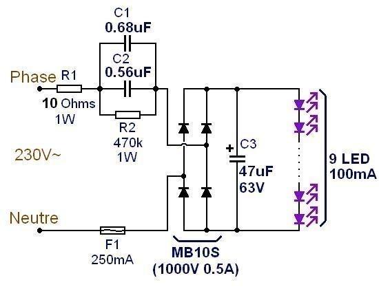 Ampoule LED 3W : schéma et composants