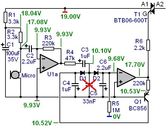 commande d un triac par micro electret pour jeu de lumiere 3