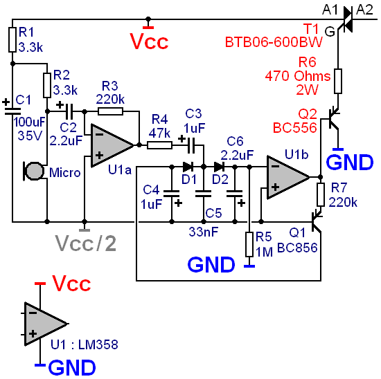 commande d un triac par micro electret pour jeu de lumiere 9