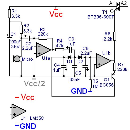 Commande d'un triac par micro électret pour jeu de lumière