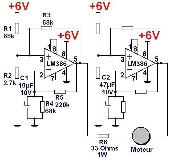 Commande de moteur pour jeu de lumière : schéma