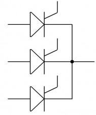 Le thyristor : association anode et cathode commune