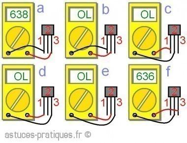 le transistor bipolaire test au multim tre astuces pratiques. Black Bedroom Furniture Sets. Home Design Ideas
