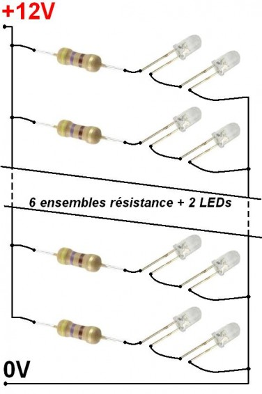 montage simple 20 led sur 12v 2
