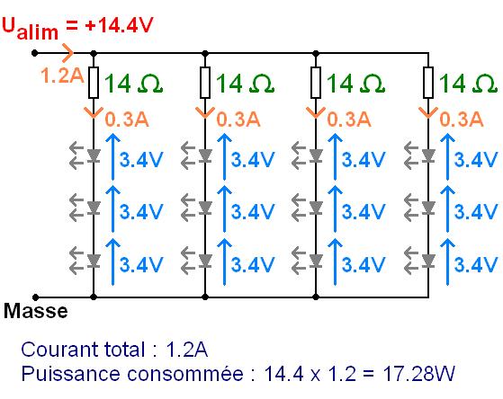 phares led 12v led en serie et resistance 7