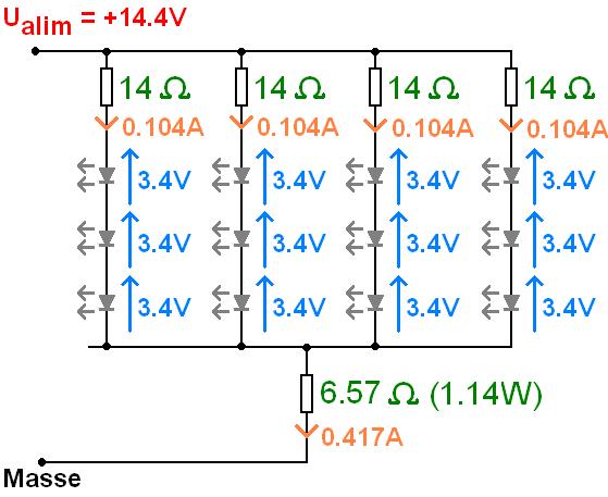 phares led 12v led en serie et resistance 8