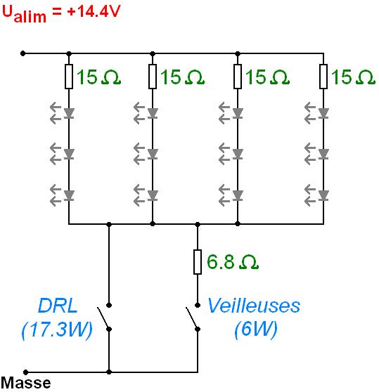 phares led 12v led en serie et resistance 10