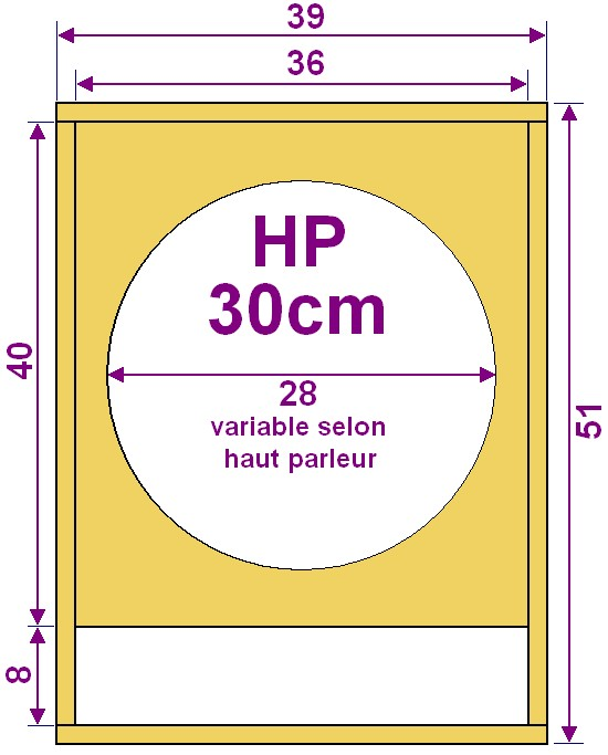 plan caisson de basse pour haut parleur 30cm. Black Bedroom Furniture Sets. Home Design Ideas