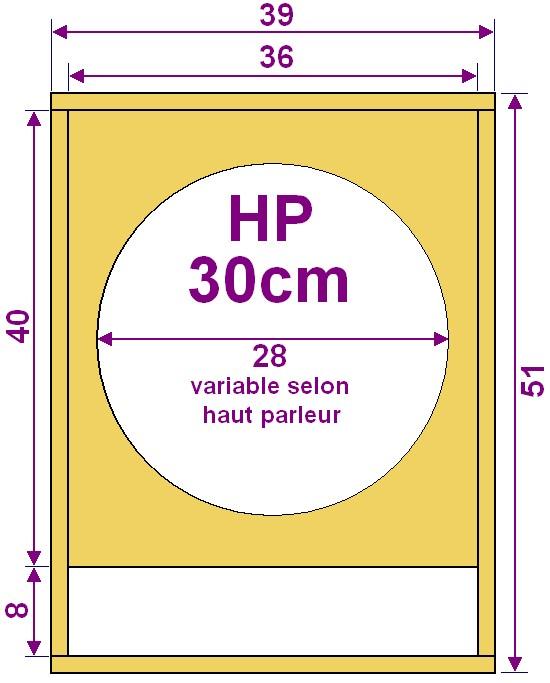 plan caisson de basse pour haut parleur 30cm astuces pratiques. Black Bedroom Furniture Sets. Home Design Ideas