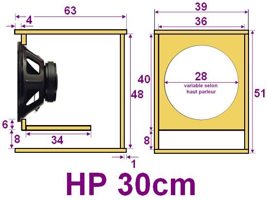 plan caisson de basse pour haut parleur 30cm. Black Bedroom Furniture Sets. Home Design Ideas