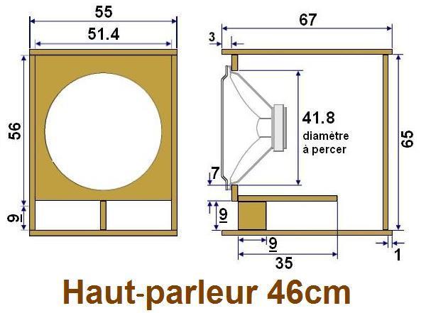 Plan caisson de basse pour haut-parleur 46cm