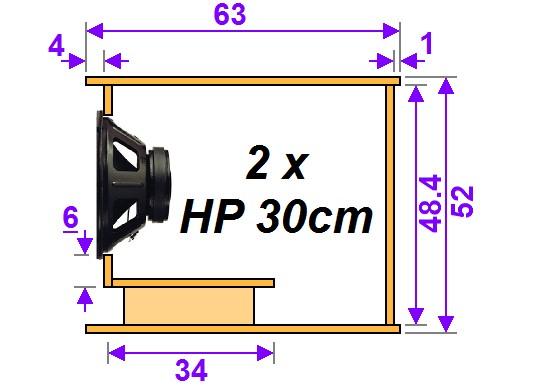 plan de caisson de basse double 30cm 1