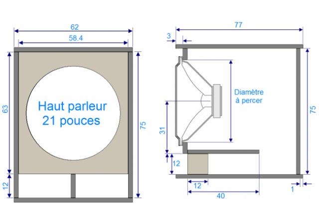 Plan de caisson de basse haut parleur 21 pouces - Caisson de basse diy ...