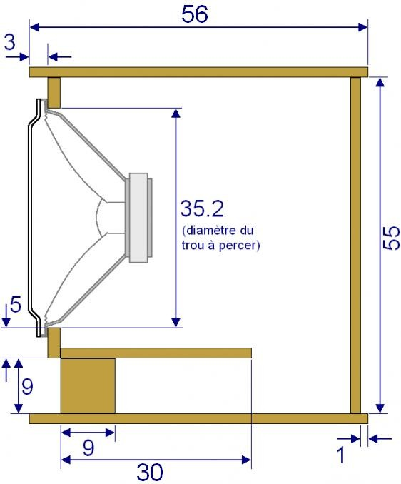 Plan de caisson de basse sono 38cm