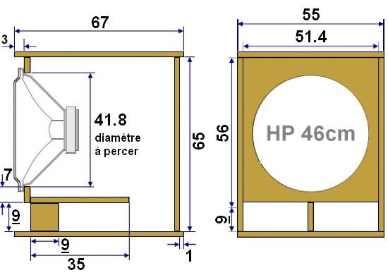 plan de realisation de caisson de basse 46 cm 0