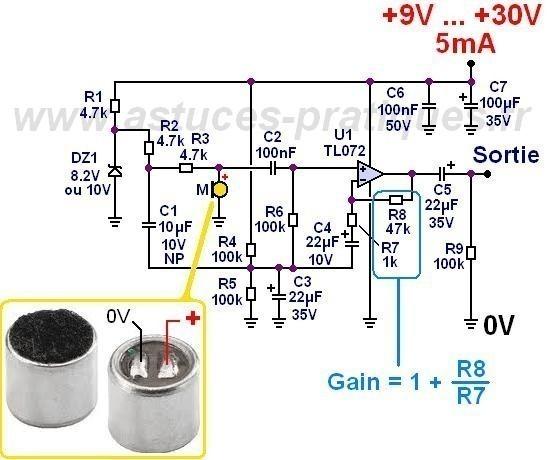 preampli micro electret schema 0