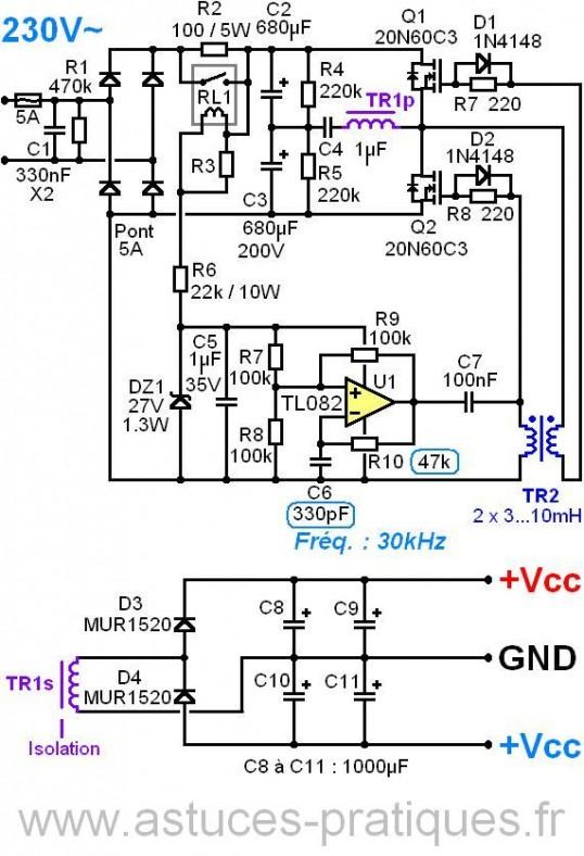 realisation et schema ampli audio 2x150w 4