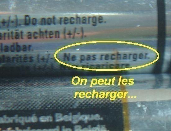Recharger des piles alcalines non rechargeables