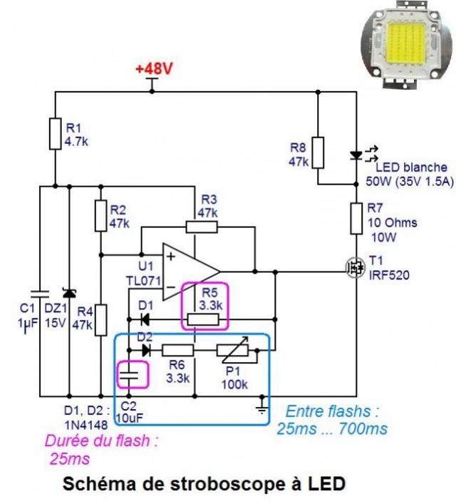 Schéma et réalisation stroboscope LED 50W