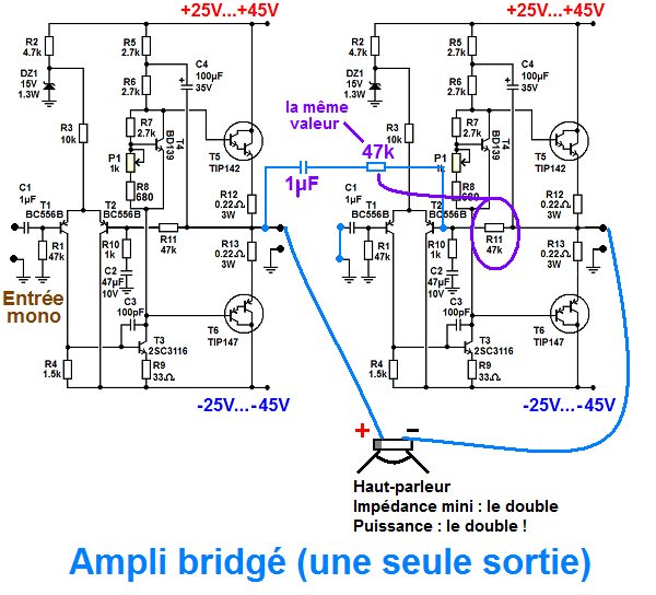 schema pour bridger un ampli stereo 1