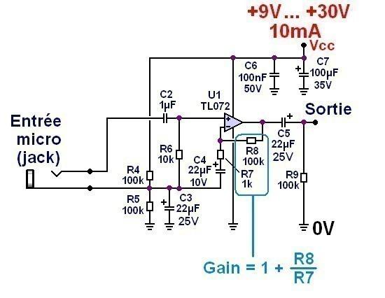 schema preampli micro ultra simple 1