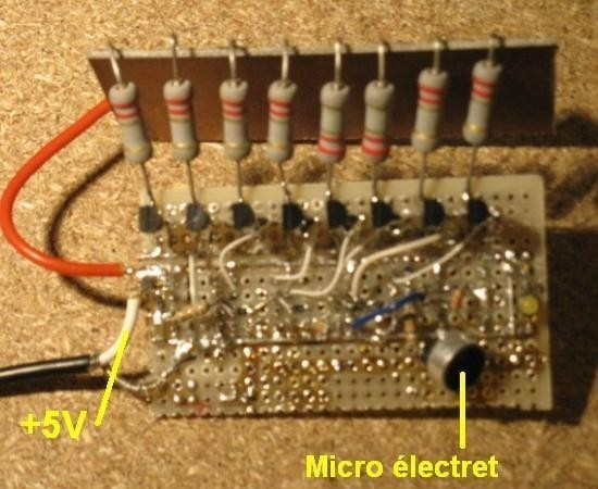Schéma vumètre à LED avec micro électret