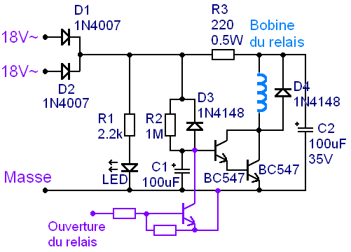 temporisation a relais pour haut parleur et ampli 4