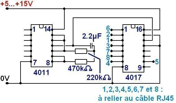 Testeur de cable RJ45 simple (schéma)
