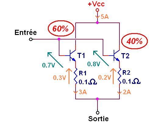 transistor en parallele et resistance 6