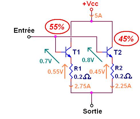 transistor en parallele et resistance 7