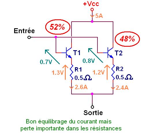 transistor en parallele et resistance 8