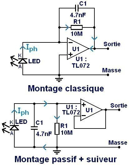 utiliser une led comme photodiode montage 1