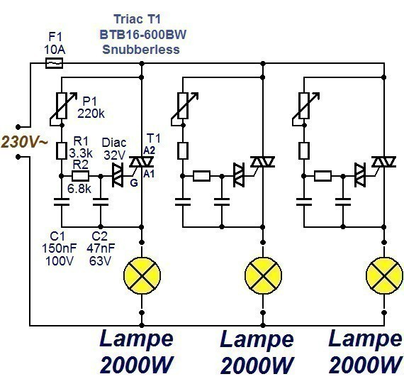 Variateur de lumière 3 x 2000W : schéma