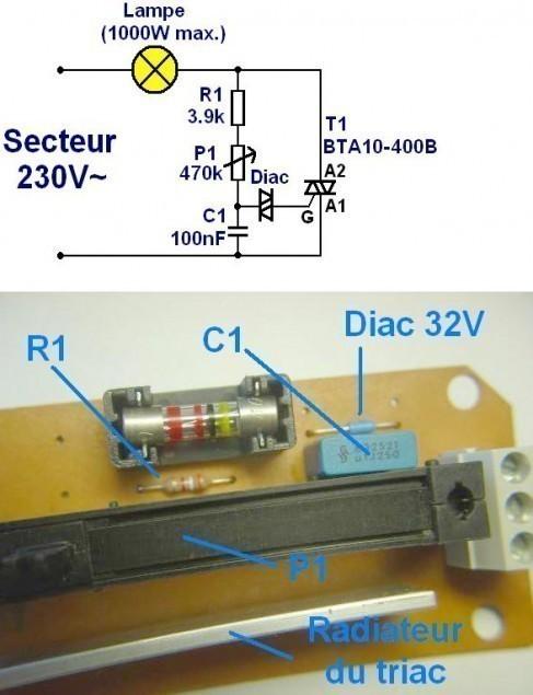 variateur de lumiere a triac realisation 3