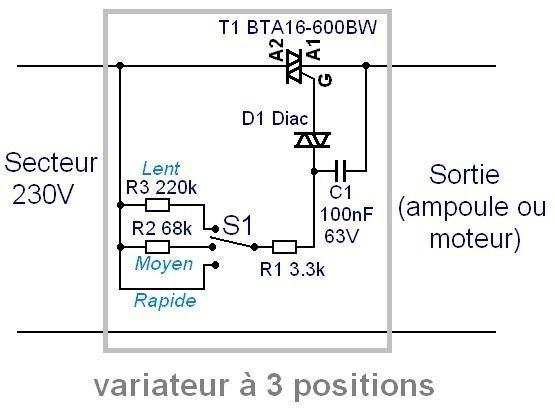 variateur de vitesse 16a a triac 3 positions 0