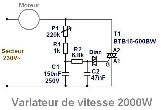 variateur de vitesse moteur 230v 16a realisation 1