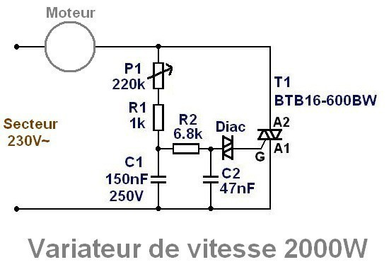 variateur de vitesse moteur 230v 16a   r u00e9alisation