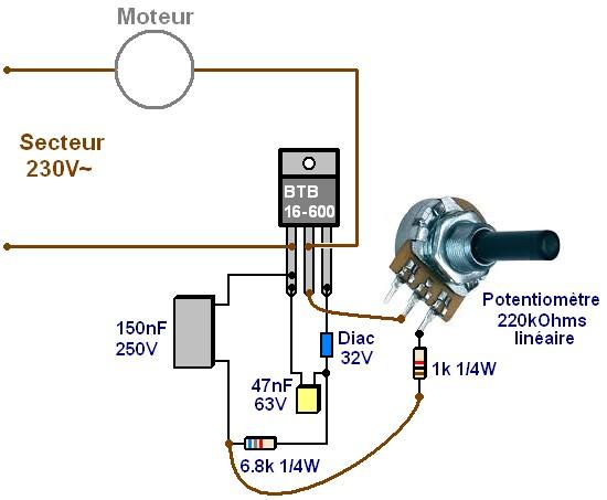 Variateur de vitesse moteur 230V 16A : réalisation