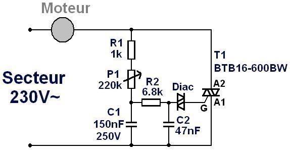 Variateur de vitesse pour moteur secteur 230V/16A